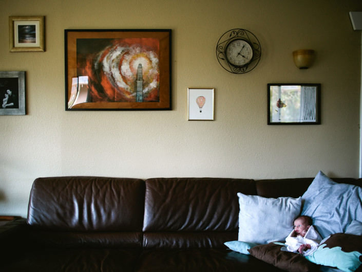 Newborn in living room